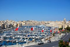 Vittoriosa waterfront and marina, Malta. Elevated view of Vittoriosa waterfront and marina with views towards Senglea and Valletta, Vittoriosa Birgu, Malta Royalty Free Stock Photos