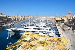 Vittoriosa waterfront and marina, Malta. Elevated view of Vittoriosa waterfront and marina with views towards Senglea and Valletta, Vittoriosa Birgu, Malta Royalty Free Stock Image