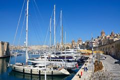 Vittoriosa waterfront and marina, Malta. Royalty Free Stock Images
