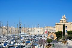 Vittoriosa waterfront and marina, Malta. Stock Photos