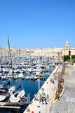 Vittoriosa waterfront and marina, Malta. Elevated view of Vittoriosa marina and waterfront with views towards Valletta, Vittoriosa Birgu, Malta, Europe Stock Photos