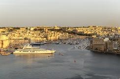 Vittoriosa yacht marina sunset panorama Royalty Free Stock Images