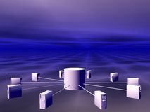 vitual dataverklighetserveror stock illustrationer