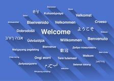 Vitvälkomnandeuttryck i olika språk Arkivfoto