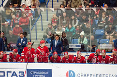 Vityaz team and head coach Oleg Orekhovsky Royalty Free Stock Image