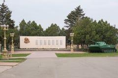 Vityazevo,俄罗斯- 2016年3月14日:纪念碑的看法对下落的战士Vityazevo村庄的在巨大爱国战争1941-中 免版税库存图片