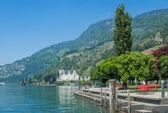 Vitznau,琉森湖,瑞士 免版税库存照片