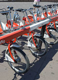 Viu BiCing, a Bicycle share program in Barcelona. Barcelona, Spain - June 17, 2015: Viu BiCing, a Bicycle share program in Barcelona gives residents and tourists Royalty Free Stock Images