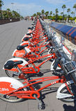Viu BiCing, a Bicycle share program in Barcelona. Barcelona, Spain - June 17, 2015: Viu BiCing, a Bicycle share program in Barcelona gives residents and tourists Royalty Free Stock Image