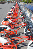 Viu BiCing, a Bicycle share program in Barcelona. Barcelona, Spain - June 17, 2015: Viu BiCing, a Bicycle share program in Barcelona gives residents and tourists Stock Image