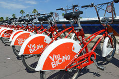 Viu BiCing, a Bicycle share program in Barcelona. Barcelona, Spain - June 17, 2015: Viu BiCing, a Bicycle share program in Barcelona gives residents and tourists Royalty Free Stock Photo
