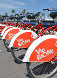 Viu BiCing, a Bicycle share program in Barcelona. Barcelona, Spain - June 17, 2015: Viu BiCing, a Bicycle share program in Barcelona gives residents and tourists Royalty Free Stock Photos
