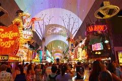 Viva远见在fremont的光显示在拉斯维加斯 免版税图库摄影