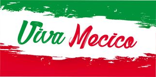 Viva Мексика, традиционный мексиканский праздник фразы иллюстрация вектора