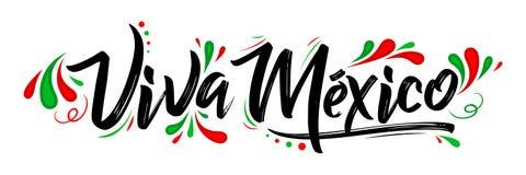 Viva Мексика, традиционный мексиканский праздник фразы иллюстрация штока