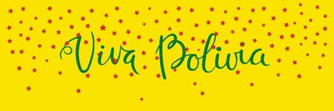 Viva Bolivia banner. Banner template with calligraphic Spanish lettering quote Viva Bolivia with falling stars, in flag colors. Isolated objects. Vector Stock Photo
