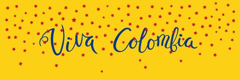 Viva Colombia banner. Banner template with calligraphic Spanish lettering quote Viva Colombia with falling stars, in flag colors. Isolated objects. Vector Stock Images