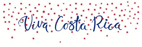 Viva Costa Rica banner. Banner template with calligraphic Spanish lettering quote Viva Costa Rica with falling stars, in flag colors. Isolated objects. Vector Stock Photography