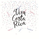 Viva Costa Rica lettering quote. Hand written calligraphic Spanish lettering quote Viva Costa Rica with falling confetti in flag colors. Isolated objects. Vector Royalty Free Stock Photos