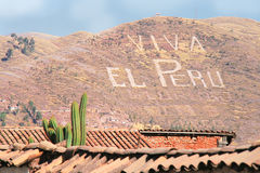 Viva El Peru, Cuzco. Sign on a hill royalty free stock images