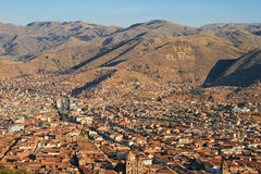 Viva El Peru, Cuzco. Sign on a hill stock photography
