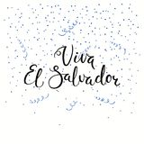 Viva El Salvador lettering quote. Hand written calligraphic Spanish lettering quote Viva El Salvador with confetti in flag colors. Isolated objects. Vector Royalty Free Stock Photography