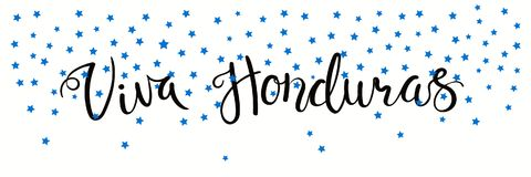 Viva Honduras banner. Banner template with calligraphic Spanish lettering quote Viva Honduras with falling stars, in flag colors. Isolated objects. Vector Stock Image