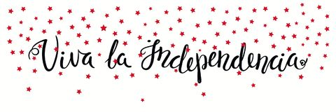 Viva Independence Spanish banner. Banner template with calligraphic Spanish lettering quote Long Live Independence with falling stars. Isolated objects. Vector Stock Images