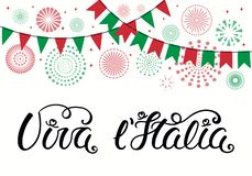 Viva l Italia lettering design with fireworks. Hand written Italian lettering quote Viva l Italia, Long live Italy, with fireworks in flag colors. Isolated royalty free illustration