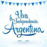 Viva la independencia Argentina, Long live Argentina independence spanish text, Argentinian theme patriotic celebration. Vector lettering - eps available Stock Image