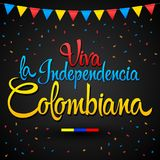 Viva la independencia Colombiana, Long live Colombian independence spanish text, Colombia theme patriotic celebration. Vector lettering - eps available Royalty Free Stock Image