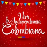 Viva la independencia Colombiana, Long live Colombian independence spanish text, Colombia theme patriotic celebration. Vector lettering - eps available Stock Photos