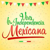 Viva la independencia Mexicana, Long live Mexican independence spanish text, Mexico theme patriotic celebration vector illustration