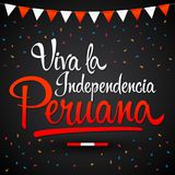 Viva la independencia Peruana, Long live Peruvian independence spanish text, Peru theme patriotic celebration vector illustration