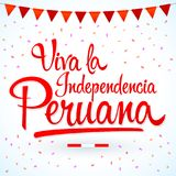 Viva la independencia Peruana, Long live Peruvian independence spanish text, Peru theme patriotic celebration. Vector lettering - eps available Stock Images