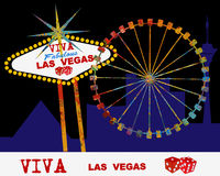 Viva Las Vegas. Iconic sign Ferris Wheel at Night Stock Photo