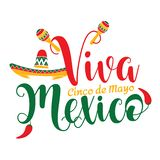 Viva Meksyk Cinco de Mayo ilustracja zdjęcie stock