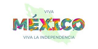 Viva Meksyk literowania dnia niepodległości krajowego symbolu flaga mapy Meksykański wektorowy kolor Obraz Royalty Free