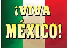 Viva Mexico! Bandeira com fundo da bandeira mexicana Imagem de Stock Royalty Free