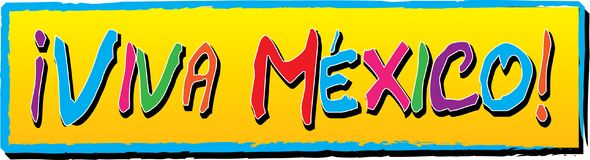 Viva Mexico! Banner. With Mexican Flag Colors for poster, flyer, letterhead and online Stock Photos