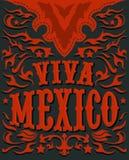 Viva Mexico - cartel mexicano del día de fiesta - estilo occidental Fotografía de archivo