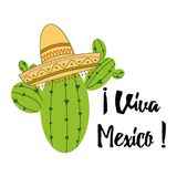 Viva Mexico colorful festive banner with cactus, sombrero. Bright vector card, sign, print, logo, label. Viva Mexico colorful festive background. Cartoon vector Royalty Free Stock Photo