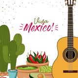 Viva mexico colorful poster with guitar and cactus plant and mexican foods chili guacamole avocado. Vector illustration Royalty Free Stock Photo