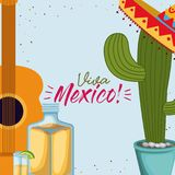Viva mexico colorful poster with guitar and cactus plant and tequila bottle. Vector illustration Royalty Free Stock Images