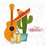 Viva mexico colorful poster with guitar tequila and cactus plant with mexican hat. Vector illustration Royalty Free Stock Photography