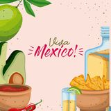Viva mexico colorful poster of mexican traditional drinks and foods. Vector illustration Stock Images