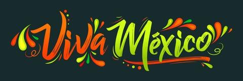 Viva Mexico, día de fiesta mexicano tradicional de la frase stock de ilustración
