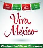 Viva Mexico - decorazione messicana di vettore di festa Fotografie Stock