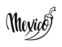 Viva Mexico. Hand drawn lettering phrase isolated on white background. Design element for advertising, poster, announcement, invit Royalty Free Stock Photography
