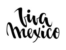 Viva Mexico. Hand drawn lettering phrase isolated on white background. Design element for advertising, poster, announcement, invit Stock Photo